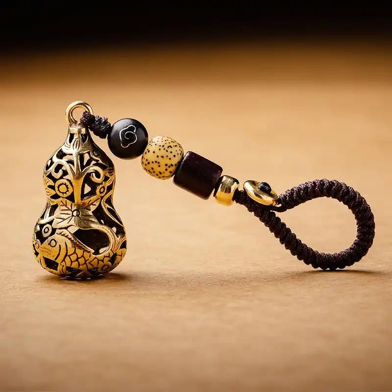 中國代購|中國批發-ibuy99|女士饰品|龙古文创福禄有余黄铜小葫芦钥匙扣饰品吊坠男女士汽车钥匙链挂件