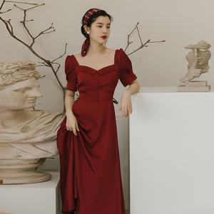 法式复古初恋红色赫本风新款连衣裙