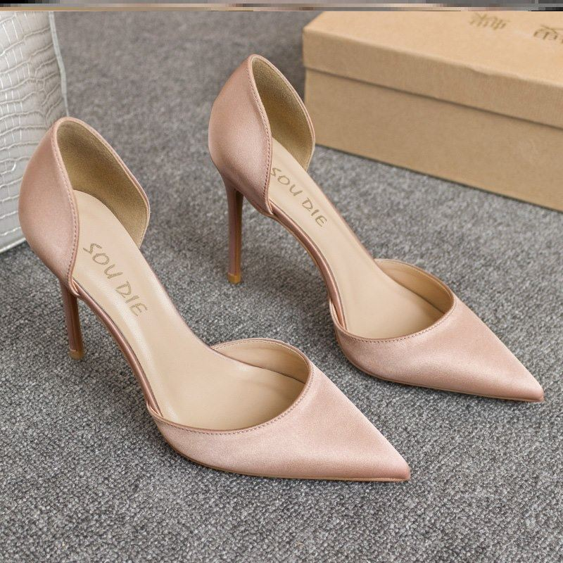 Silk satin hollow pointed thin heel small fresh French nude high-heeled girl Orsay single shoes champagne wedding shoes