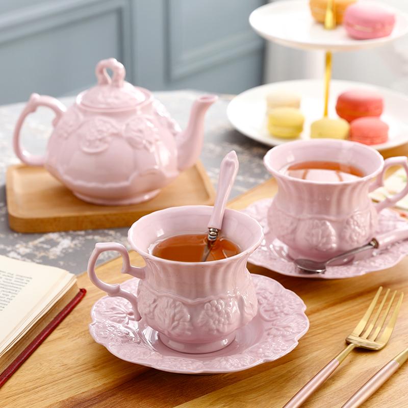欧式咖啡杯碟套装带勺家用陶瓷花茶壶粉色杯子女学生韩版水杯清新