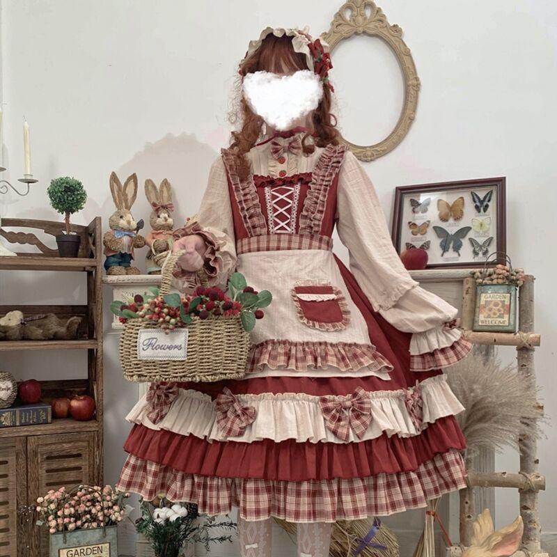 オリジナルのマントLolitaスーツスカートエプロンコート小赤ずきん軟妹中学生春夏長袖opワンピース