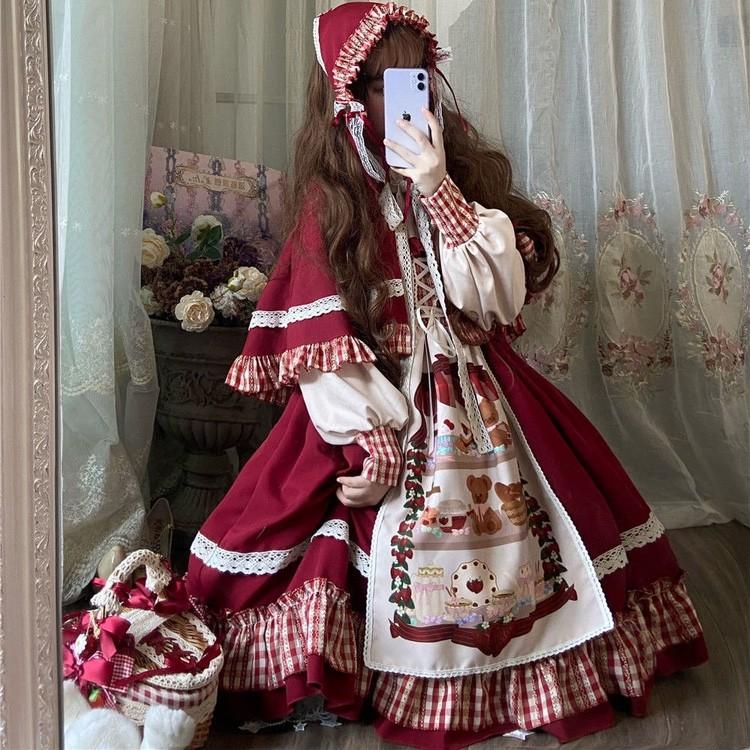 洛丽塔小红帽全套2021秋冬季软妹可爱斗篷外套两件套lolita连衣裙