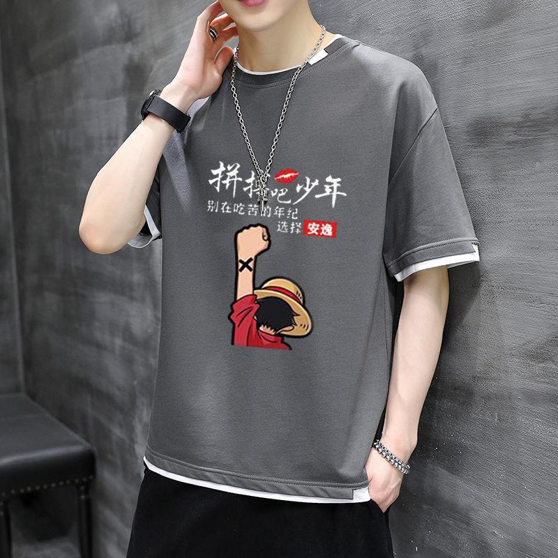 中國代購|中國批發-ibuy99|T恤男|短袖T恤男夏季2021新款潮流半袖上衣服宽松男生五分袖夏装体恤衫