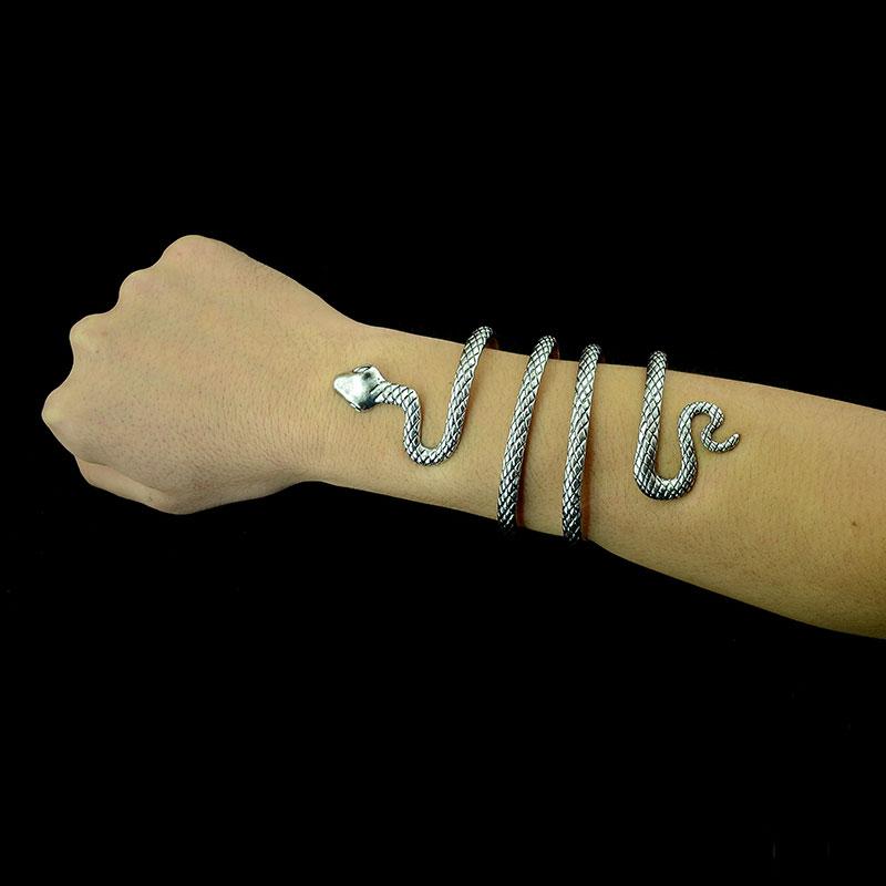 Retro Bracelet Snake Bracelet with arm cuffs European and American fashion exaggerated Zodiac snake bone Bracelet Silver Plated Jewelry