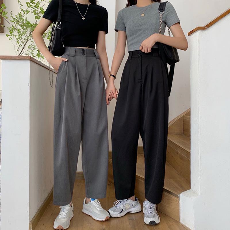 晚意胖妹妹秋装新款2021大码女装休闲西装裤直筒阔腿女裤子宽松显