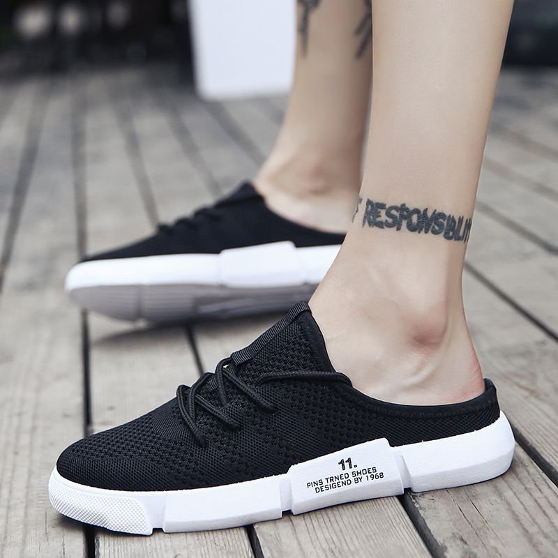 Lazy Doudou shoes mens no root no heel half drag acne shoes pattern knitting net shoes can step on canvas shoes summer