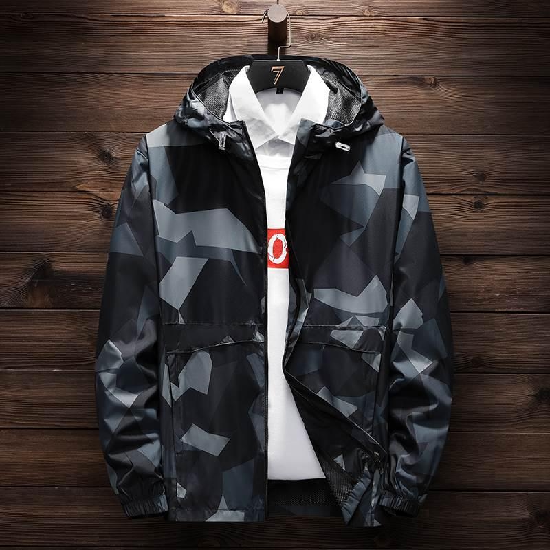 运动夹克休闲男士防风潮流外套韩版连帽秋季新款上衣学生迷彩户外