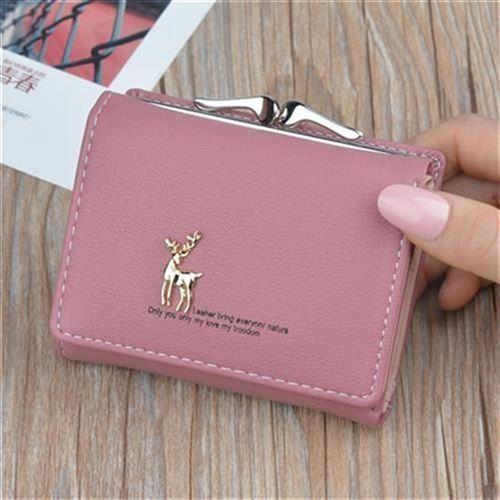 。款钱包女短款 韩版简约小鹿x搭扣三折女式学生R小V钱包零钱包钱
