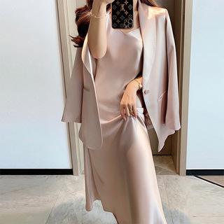 2021新款秋季女醋酸套装西装气质职业两件套收腰显瘦吊带裙连衣裙