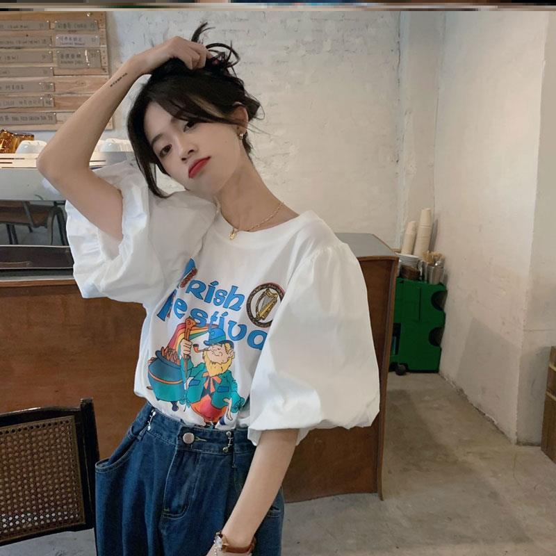 甜辣风卡通印花泡泡短袖t恤女设计感小众别致很仙的体桖上衣ins潮