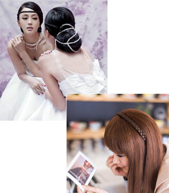 Korean fake l hair C hair belt wig headdress new hand woven twist hair belt sweet hair circle headdress large Korean