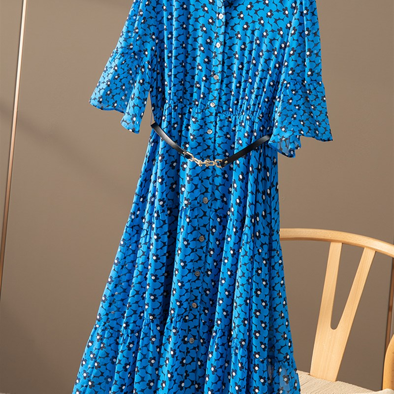Refuse to be a passer-by DH indigo sun skirt waist closed silk shirt Jumpsuit girl spring T900 special