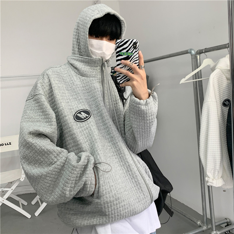 Intfeday 2021 spring new sports hooded jacket mens small check loose solid color sweater cardigan