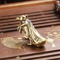铜老鼠摆件招财十二生肖鼠黄金鼠布袋鼠工艺品茶宠饰品生日礼品