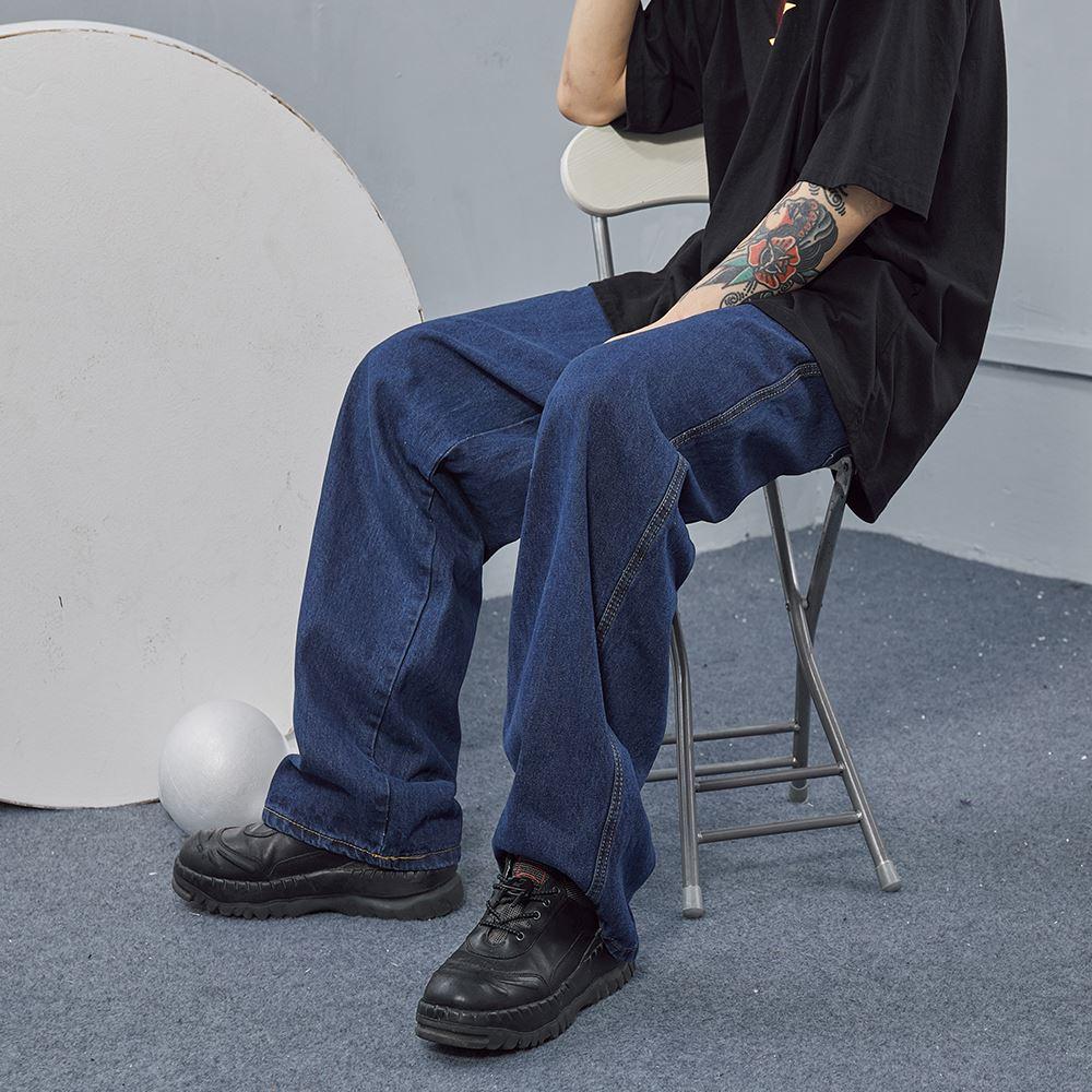 复古男朋友风宁单纯色老头爹裤美式街老友记宽松直筒牛仔腿裤阔裤