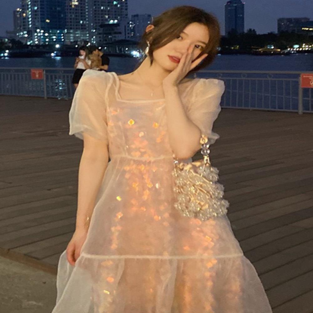网纱短袖夏季女神范连衣裙2021新款闪闪发光亮片裙仙女小个子长裙
