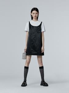 黑色吊带连衣裙短款A字裙风衣材质裙子女夏季宽松无袖短裙背心裙