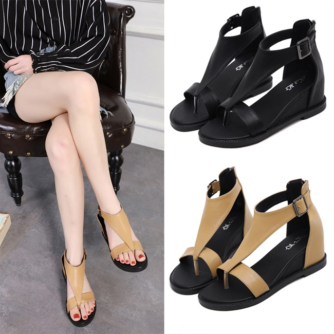 Summer new clip toe sandals womens Roman high top black belt buckle womens shoes fairy style slope heel increase sandals