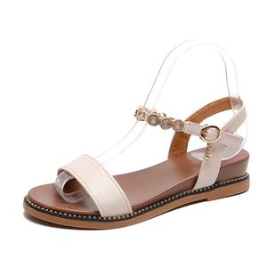 大东2021夏季新款坡跟一字带风女鞋