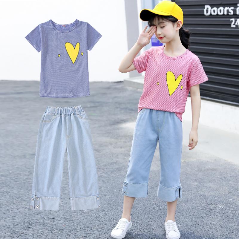 女童夏装2018新款9时髦套装潮11中大童12-15岁洋气短袖休闲两件套