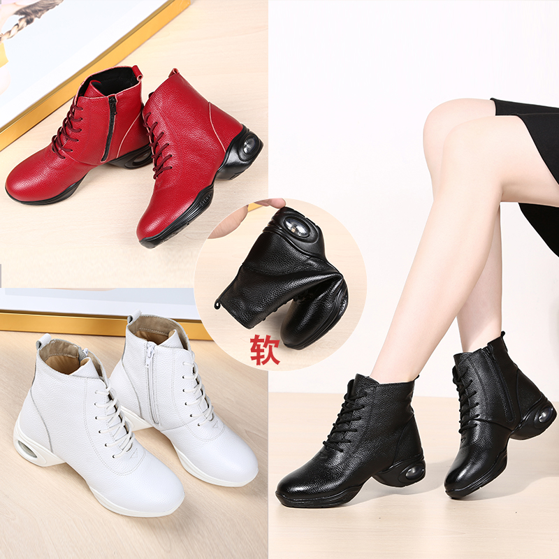 Yingyun leather dance shoes womens soft soled adult square dance shoes four seasons dance shoes middle heel Sailor Dance Shoes Dance boots