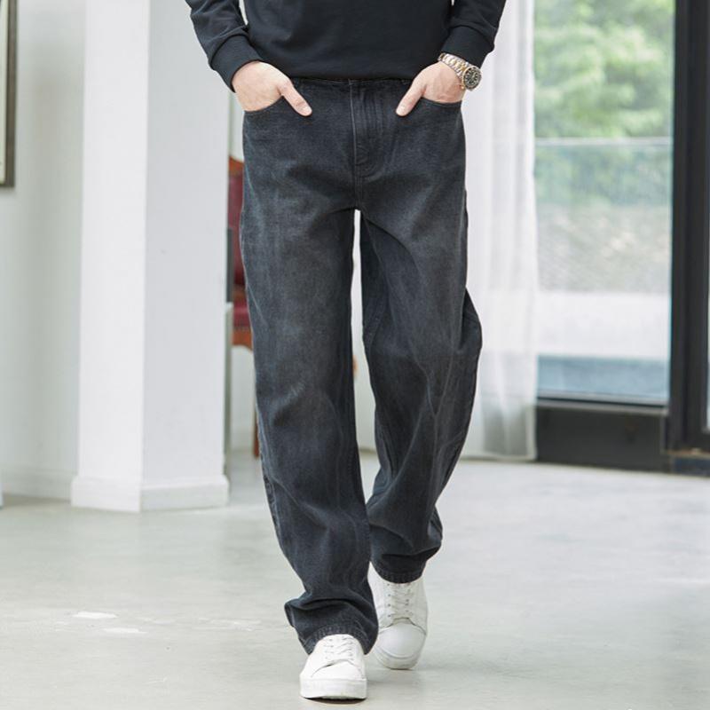 高端直筒宽松牛仔裤男式阔腿裤坠感老爹裤薄款爸爸中年夏季加大码