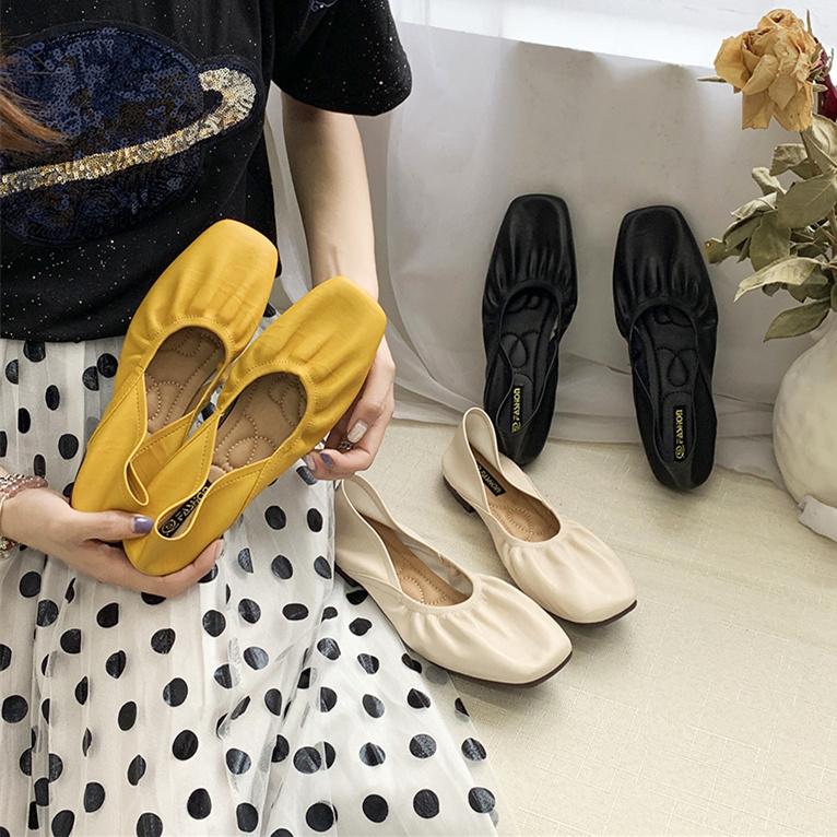 Retro granny shoes women 2020 new summer light mouth soft bottom egg roll shoes flat bottom versatile single shoes ballet shoes