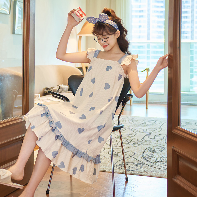 Suspender nightdress female summer long lovely fresh Pajama skirt spring and summer cotton thin large home service factory