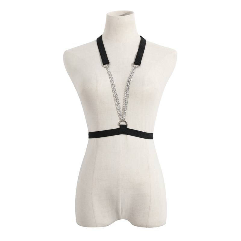 European and American fashion sexy black elastic chest chain body chain versatile external metal body chain female jewelry