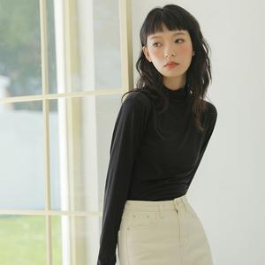 黑色半高领打底衫女长袖t恤洋气白色修身秋冬季加厚德绒内搭上衣