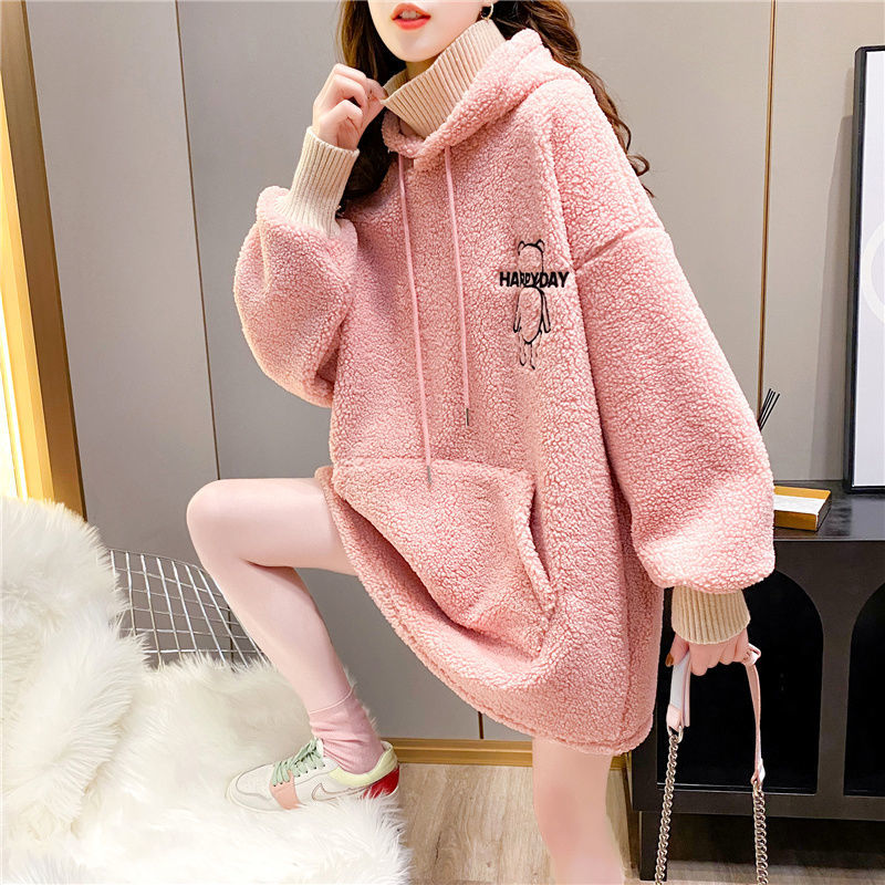 Cashmere sweater womens imitation cashmere 2021 winter new fat mm high collar fake two piece cartoon embroidery Hoodie fashion