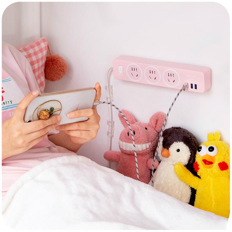 墙壁走理线神器电线插排插座插线板固定器挂墙上贴收纳卡扣遮挡条