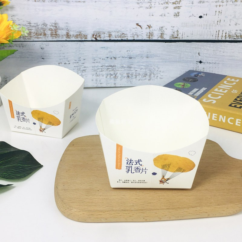 Paper tray packaging a box dry slices transparent bread meal package frankincense bag a baked frankincense bread tray French slice