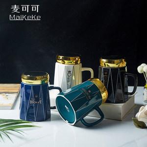 麦可可 创意个性经典办公早餐牛奶情侣家用陶瓷杯品悦马克水杯
