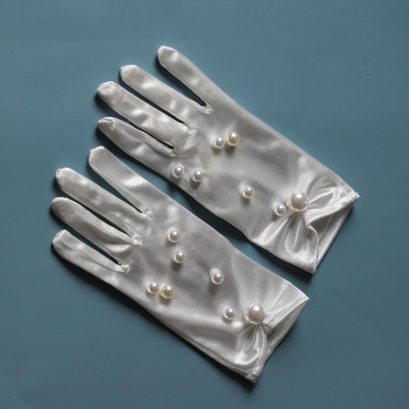 高档新娘手套蕾丝白色结婚秀禾服手套婚礼白纱婚纱缎面优雅奢华