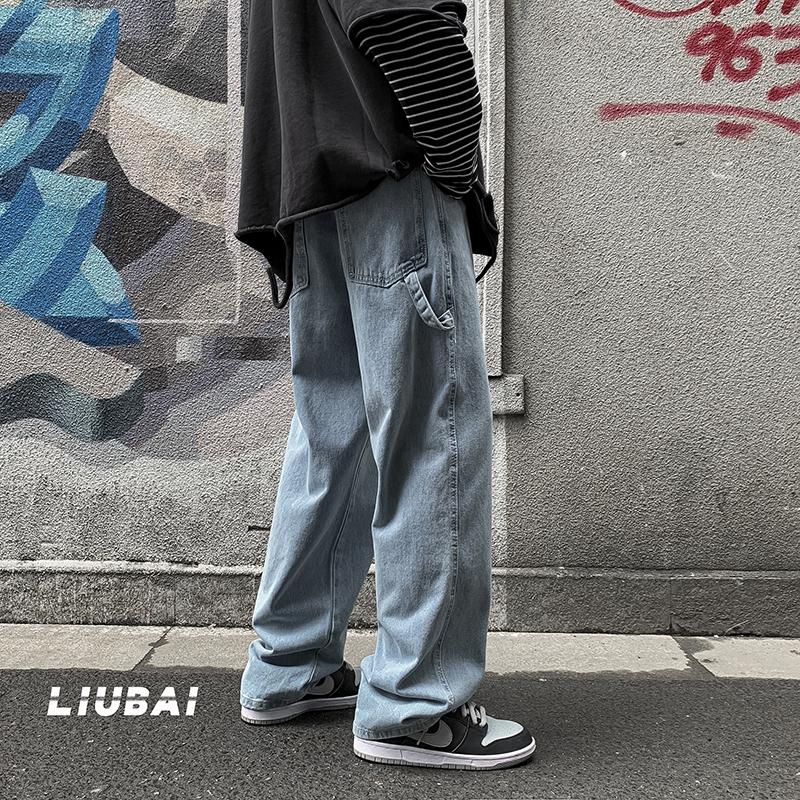 牛仔裤男春秋季高街潮牌老爹裤宽松直筒阔腿裤2021新款韩版潮裤子