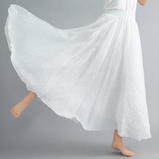 春夏新款复古森女文艺双层大摆纯色显瘦荷叶边棉麻半身裙女长裙子