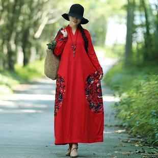 春秋裝新款民族風女裝復古中國風印花棉麻寬松大碼長袖連衣裙長裙