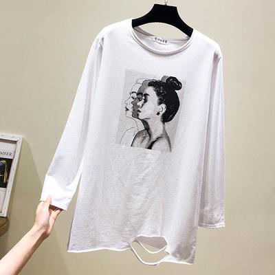 欧货大版t恤冬韩版中长款白色破洞长袖卫衣休闲打底衫女百搭宽松