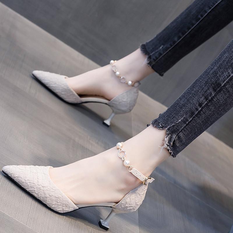 法式小清新少女高跟鞋女细跟5cm中空一字扣单鞋女仙女风2020新款图片
