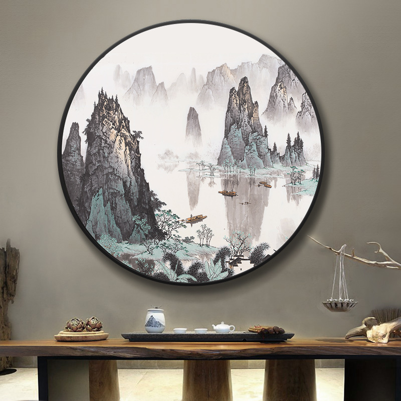 大氣掛畫漓江客廳國畫新中式玄關山水畫千峰競秀壁畫圓形裝飾畫