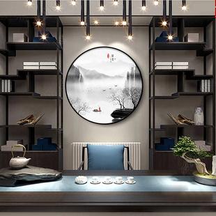 圆形山水禅意玄关装 饰画客厅餐厅书房挂画走廊过道茶室壁画 新中式