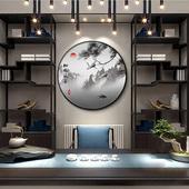 新中式圆形玄关走廊过道装饰画中国风油画餐厅客厅山水茶室壁挂画