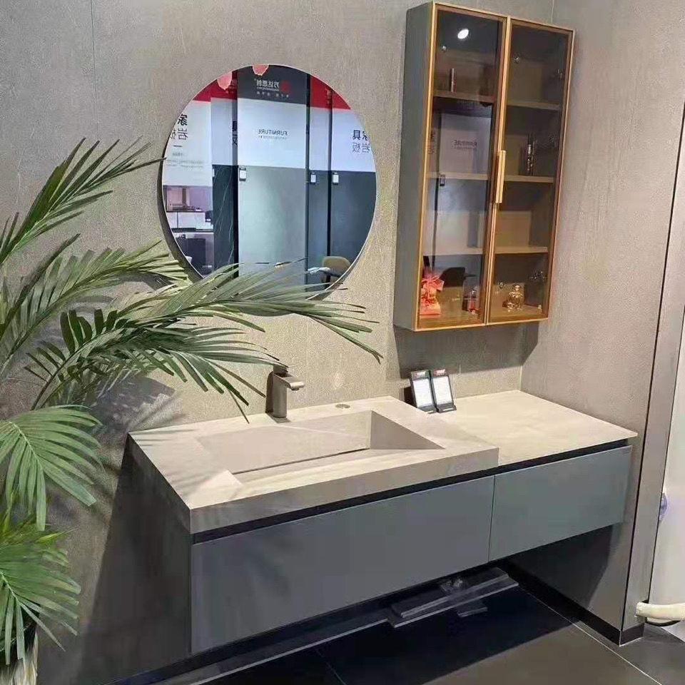 家装主材现代简约北欧浴室柜组合落地式洗脸盆洗手洗漱台卫生间