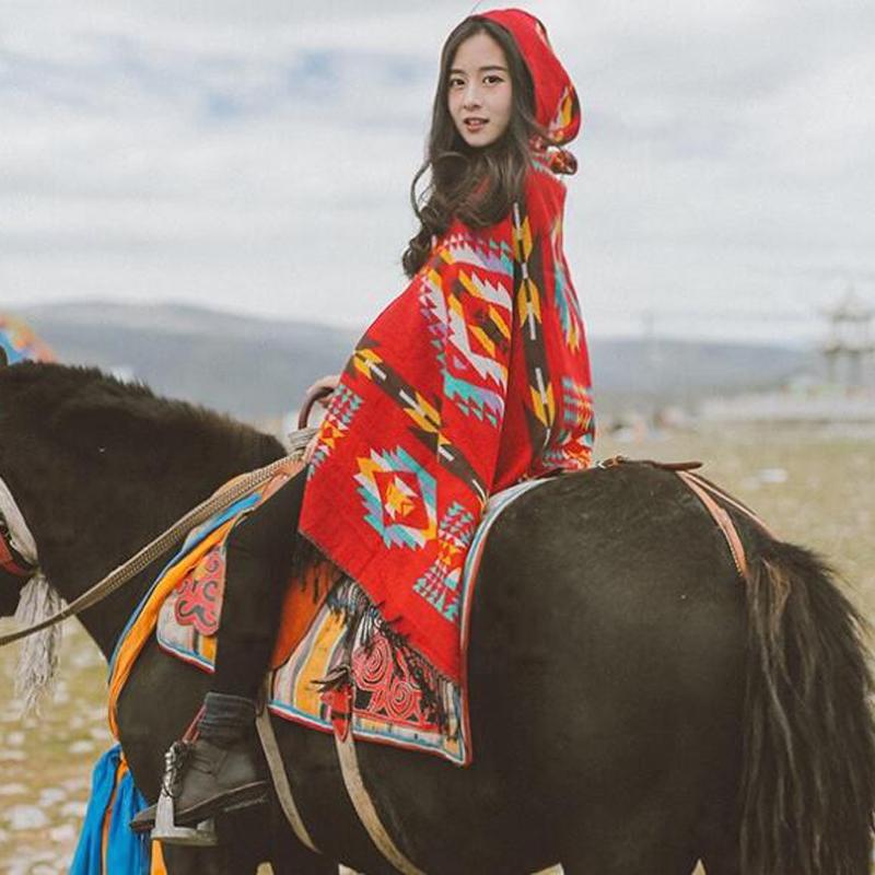 新款正品女装沙漠红色民族风披肩围巾丽江大西北旅行斗篷稻城亚丁