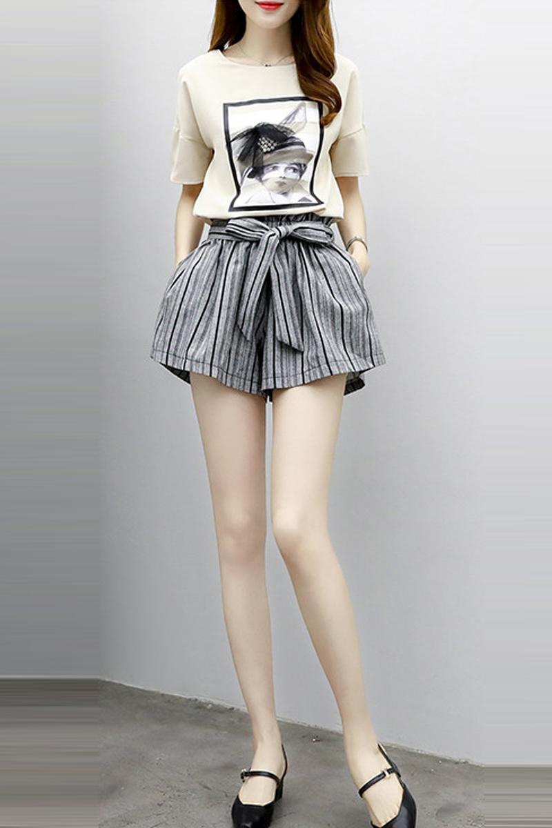 韩版阔腿条纹短裤女2p021夏季新款宽松休闲+t恤两件套装潮