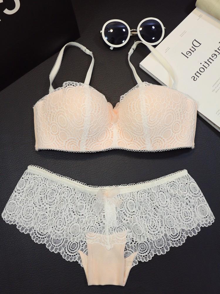 法国性感聚拢浪漫蕾丝无钢圈半杯文胸套装少女白色抹胸式内衣薄款