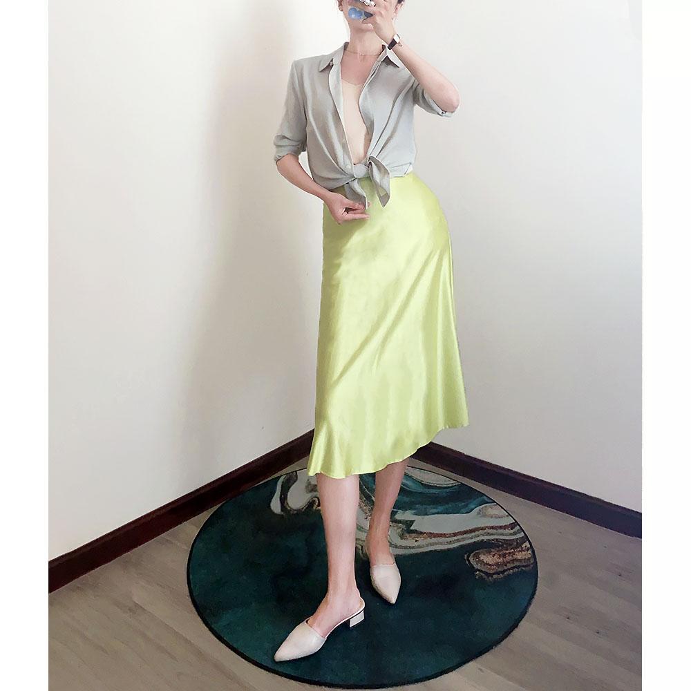 Eliecytheria original design womens Turquoise silk elegant half length thin small fresh sun skirt