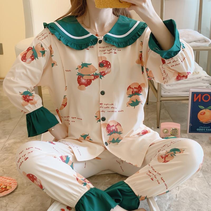 实拍新款纯棉月子服春秋产后哺乳睡衣女孕妇怀孕期秋冬季产妇套装