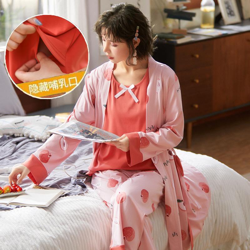 實拍月子服三件套純棉春秋冬季產前產后孕婦哺乳睡衣喂奶衣套裝夏